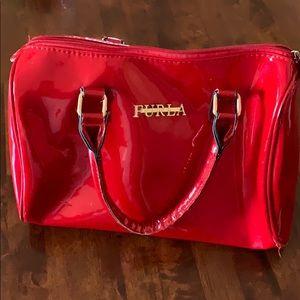 "Beautiful Red Furla Patten leather bag""...🌺"